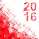 2016 kwadratowy kartka z pozdrowieniami na czerwonych błyszczących wakacji światłach Obrazy Stock