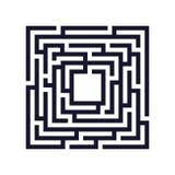 Kwadratowy labirynt, labitynt ikona pojęcia prowadzenia domu posiadanie klucza złoty sięgający niebo royalty ilustracja