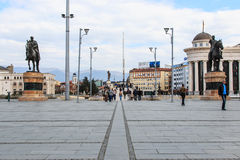 Kwadratowy Makedonia i kamienia most, Skopje Zdjęcie Royalty Free