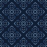 Kwadratowy patchworku motywu Japońskiego stylu wektoru Bezszwowy wzór Ręka Rysujący Indygowy ilustracji