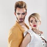 Kwadratowy portret modna para Oba z makeup zdjęcia stock
