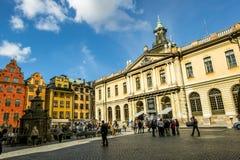 Kwadratowy Stortorget w Gamla Stan w Sztokholm Szwecja Obrazy Royalty Free