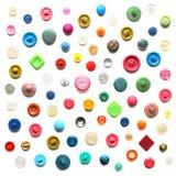 Kwadratowy tło od guzików na bielu Obrazy Stock