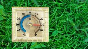 Kwadratowy termometr na trawie w lecie obrazy stock