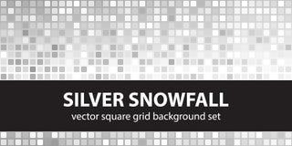 Kwadratowy wzoru setu srebra opad śniegu Obrazy Royalty Free