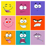 Kwadratowych kreskówek Emoticons Różny kolor Z wyrażeniem Ustawia 2 Kolekcja Fotografia Stock