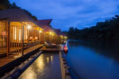 Cozy atmosphere and natural touch along Kwai Noi River,Sai Yok,Kanchanaburi,Thailand.With beautiful twilight sky and raft houses. Kwai Noi or Kwai Sai Yok is a royalty free stock photo