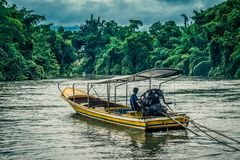Tugboat on Kwai Noi River,Kanchanaburi,Thailand. Kwai Noi or Kwai Sai Yok is a river in western Thailand. It rises to the east of the Salween in the north-south royalty free stock images