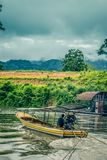 Tugboat on Kwai Noi River,Kanchanaburi,Thailand. Kwai Noi or Kwai Sai Yok is a river in western Thailand. It rises to the east of the Salween in the north-south stock images