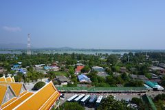 Kwai river with non-urban view. View of Kwai river with non-urban landscape in Thailand Royalty Free Stock Photos