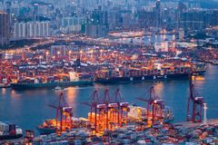 Kwai Tsing Container Terminals Stock Afbeelding
