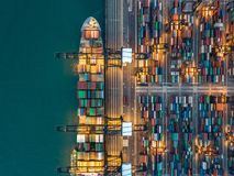 Kwai Tsing Container Terminals. From drone view Stock Photography