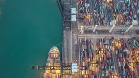 Kwai Tsing Container Terminals. From drone view stock video