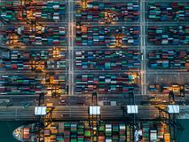 Kwai Tsing Container Terminals. From drone view Stock Images