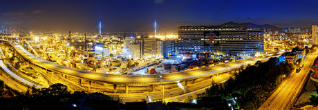 Kwai Tsing Container Terminals. And highway in hong kong Royalty Free Stock Photos