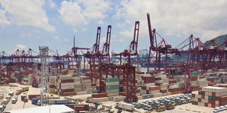 Kwai Tsing Container Terminals in Hong Kong royalty-vrije stock afbeelding