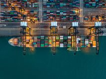 Kwai Tsing Container Terminals. From drone view Royalty Free Stock Images