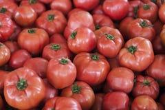 Kwalitatieve achtergrond van tomaten Verse tomaten Rode tomaten De organische tomaten van de dorpsmarkt Stock Foto's