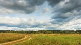 Kwalitatieve timelapse van de herfstlandschappen, de vlieg van regenwolken over gebied stock footage
