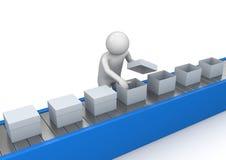 Kwaliteitsbeheersing van de transportband - Arbeiders stock illustratie