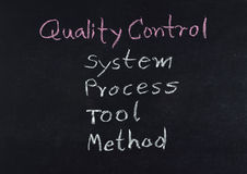 Kwaliteitscontroleconcept (systeem - proces - hulpmiddel - methode) royalty-vrije stock afbeelding