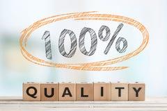 100% kwaliteitsteken in een ruimte Royalty-vrije Stock Foto