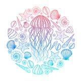 Kwallen en shells in de stijl van de lijnkunst Hand getrokken vectorillustratie Ontwerp voor het kleuren van boek Reeks oceaanele Stock Foto