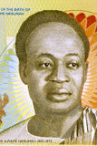 Kwame Nkrumah. (1909-1972) on 2 Cedis 2010 Banknote from Ghana. Leader of Ghana and its predecessor state, the Gold Coast, during 1951-1966 Royalty Free Stock Photography