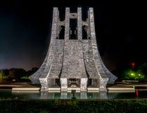 Kwame Nkrumah Memorial Park bij nacht - Accra, Ghana royalty-vrije stock foto