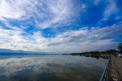 Kwan Phayao; a lake in Phayao province, the North of Thailand. Shooting with the rule of thirds between river, cloud, and sky stock photos