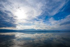 Kwan Phayao; a lake in Phayao province, the North of Thailand. Shooting with the rule of thirds between river, cloud, and sky. Kwan Phayao; a lake in Phayao royalty free stock photography
