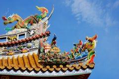 Kwan Tai świątyni dachu szczegół przy Yokohama Chinatown Zdjęcia Royalty Free