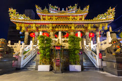 The Kwan Tai Temple in Chinatown district of Yokohama at night, Japan Royalty Free Stock Image