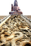 Kwan-yin Statue und Drache   Lizenzfreie Stockbilder