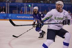 Team Slovenia captain Jan Mursak in action against Team USA during men`s ice hockey preliminary round game at 2018 Winter Olympic. KWANDONG, SOUTH KOREA Royalty Free Stock Images