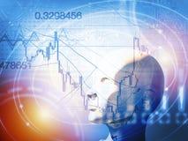 Kwantitatief voorraad en forex handelconcept met kunstmatige intelligentie Stock Foto