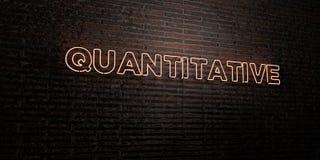 KWANTITATIEVE - Realistisch Neonteken op Bakstenen muurachtergrond - 3D teruggegeven royalty vrij voorraadbeeld Royalty-vrije Stock Foto's