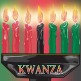 Kwanza Candles Close up. Illustration of a close up of kwanza candles burning Stock Image