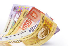 Kwanza money. Set of banknotes of Angola with clipping path Stock Images
