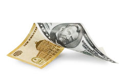 Kwanza money. Banknote that begins in Kwanza money and ends in dollars with clipping path Royalty Free Stock Photos