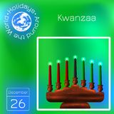 Kwanzaa. African American festival in the United States. Kinara. Calendar. Holidays Around the World. Event of each day. Green. Kwanzaa. African American vector illustration