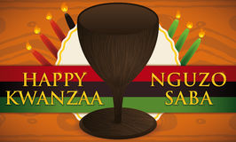 Kwanzaa Design with Traditional Cup, Candles, Label and Flag, Vector Illustration. Banner with traditional cup and candles for Kwanzaa celebration over a label stock illustration