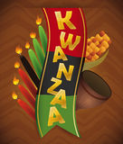 Kwanzaa Elements around Traditional Flag, Vector Illustration Stock Photography