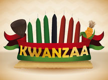 Kwanzaa Elements with Traditional Flag, Vector Illustration Royalty Free Stock Image