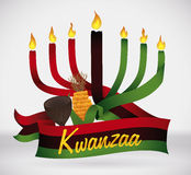 Kwanzaa Flag with Traditional Elements, Vector illustration stock image