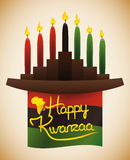 Kwanzaa Flag with Traditional Kinara and Candles, Vector Illustration stock photos