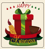 Kwanzaa Gift with Traditional Unity Cup and Corn, Vector Illustration Stock Photos