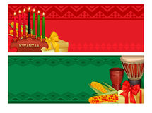 Kwanzaa Holiday Celebration Colorful Banners Set Royalty Free Stock Images