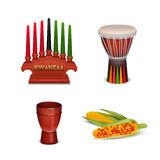 Kwanzaa Holiday 4 Colorful Symbols Collection Stock Images