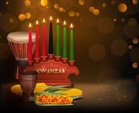Kwanzaa Kinara Background Colorful Composition Poster. African american kwanzaa holiday celebration festive background poster with burning kinara candles and Stock Image